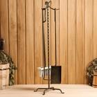 """Каминный набор кованый """"Лотос"""" 3 предмета: кочерга, щётка, совок"""