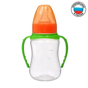 Бутылочка для кормления детская приталенная, с ручками, 150 мл, от 0 мес., цвет зелёный