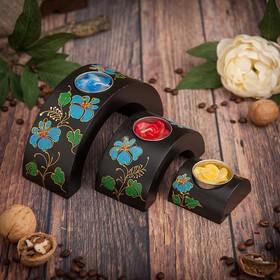 """Набор подсвечников из мангового дерева """"Цветок"""" 17,5х6х8,5 см"""