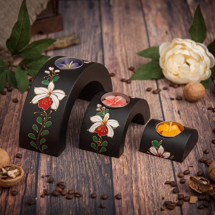 """Набор подсвечников из мангового дерева """"Цветы"""" 17,5х6х8,5 см"""