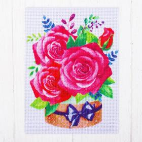 "Canvas for cross-stitch pattern ""Bouquet of roses"" 20 x 15 cm"