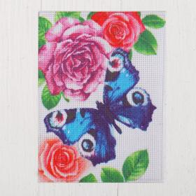 "Canvas for cross stitch ""Butterfly in flowers"", 20 x 15 cm"