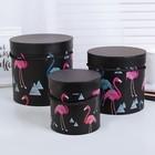 """Набор коробок 3в1 """"Фламинго"""", чёрный, 18 х 18 х 17,5 - 12 х 12 х 12 см"""