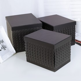 3in1 set boxes, black, 25 x 20 x 18 and 21 x 15.5 x 15.5 cm