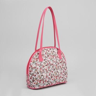 Сумка дорожная, отдел на молнии, наружный карман, цвет белый/розовый