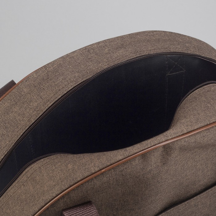 Сумка дорожная, отдел на молнии, наружный карман, цвет коричневый