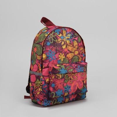 """Рюкзак молодёжный """"Цветы"""", отдел на молнии, 3 наружных кармана"""