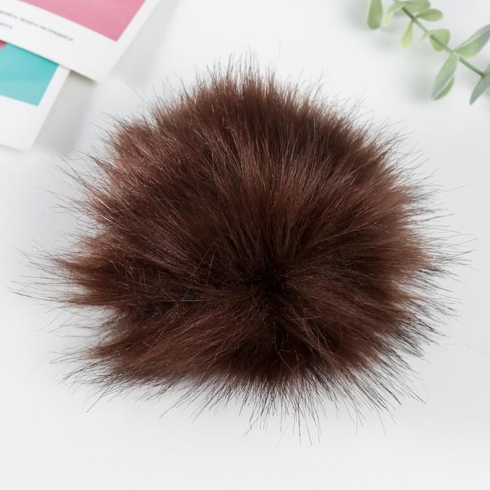 Помпон искусственный мех песец 14см (т.коричневый)