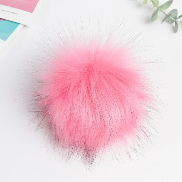 Помпон искусственный мех песец 14см (ярко-розовый)