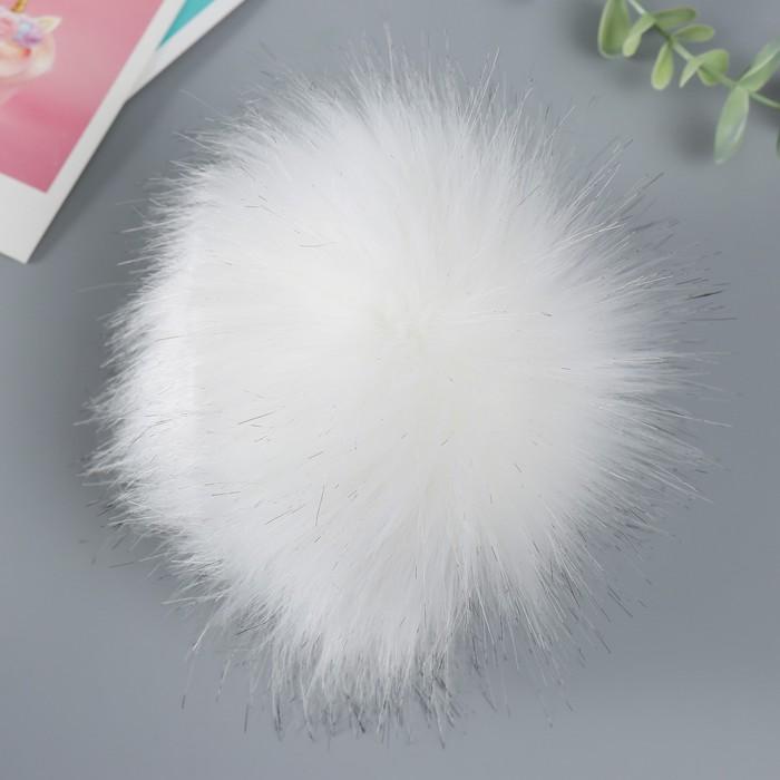 Помпон искусственный мех песец 14см (молоко)