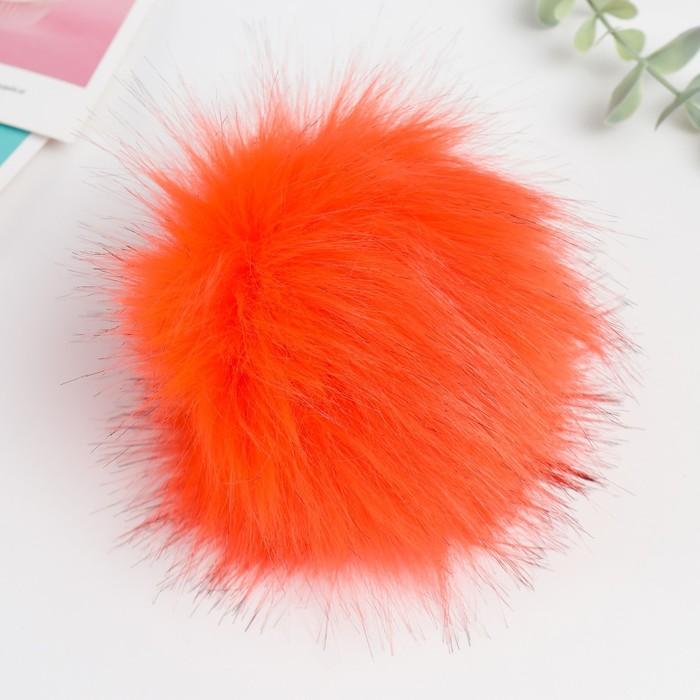 Помпон искусственный мех песец 14см (оранжевый)