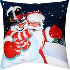 Подушка декоративная «Дед Мороз и снеговик», сублимация, 35 × 35 см, велюр, п/э 100 %