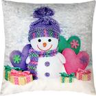 Подушка декоративная Снеговик и сердечки сублимация 35х35 см  велюр, пэ 100%