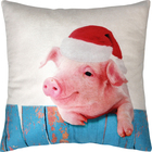 Подушка декоративная Свинья на заборе сублимация 35х35 см  велюр, пэ 100%