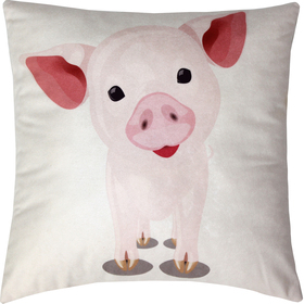 Подушка декоративная Свинья сублимация 35х35 см  велюр, пэ 100% Ош