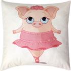 Подушка декоративная Свинья в юбке сублимация 35х35 см  велюр, пэ 100%