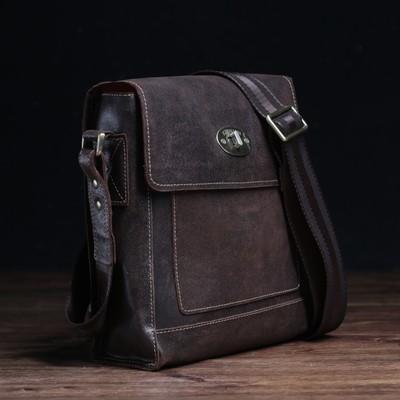 Сумка мужская, отдел на клапане, наружный карман, длинный ремень, цвет коричневый