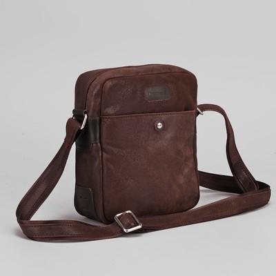 Сумка мужская, отдел на молнии, наружный карман, длинный ремень, цвет коричневый
