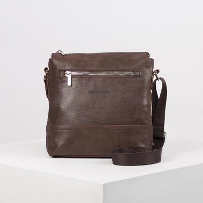 Сумка мужская, отдел на молнии, наружный карман, длинный ремень, цвет тёмно-коричневый