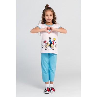 Комплект (футболка+шорты) для девочки, рост 128-134 см (36), цвет голубой/розовый