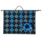 Папка А3 с ручками пластик/текстиль, молния сверху, 420х343х50 мм «Цветок на ромбах»