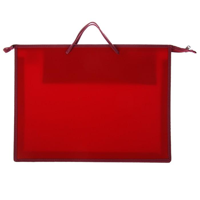 Папка А3 с ручками пластик молния сверху 50 мм 420*343 мм ПР 3 -8 карман внутри Бордовый