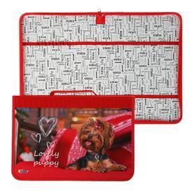 Папка для труда, А4, с ручкой, молния вокруг, текстиль/ламинированный картон, 340 х 235 мм, «Оникс», ПТ-Р5, Lovely puppy