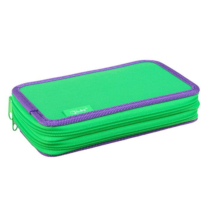 Пенал 2 секции 110х190 мм, ткань ПКТ 02-41, салатовый/фиолетовый - фото 438360518
