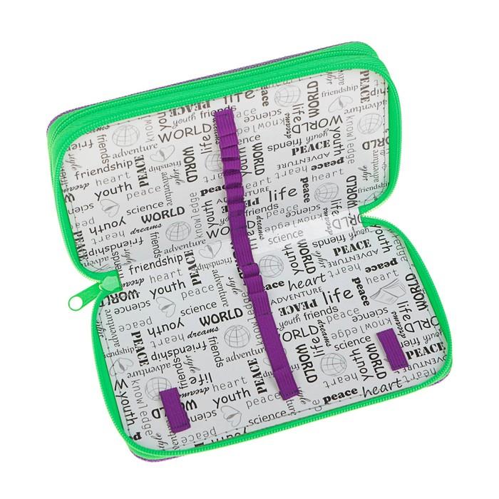 Пенал 2 секции 110х190 мм, ткань ПКТ 02-41, салатовый/фиолетовый - фото 438360521