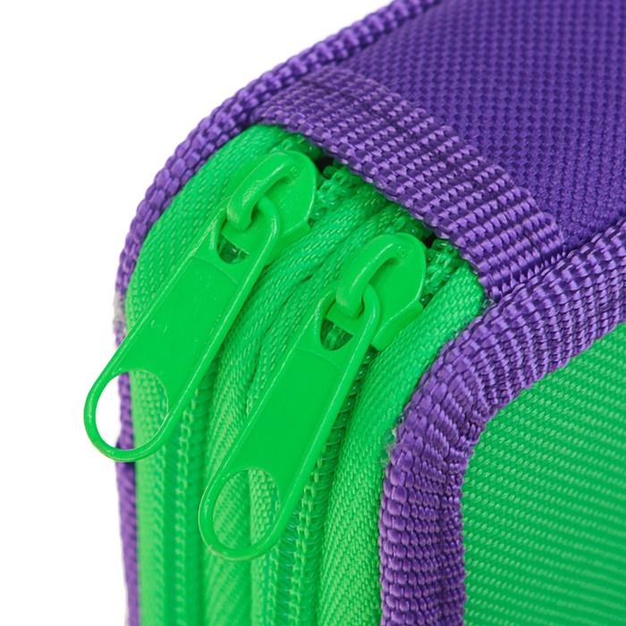 Пенал 2 секции 110х190 мм, ткань ПКТ 02-41, салатовый/фиолетовый - фото 438360523