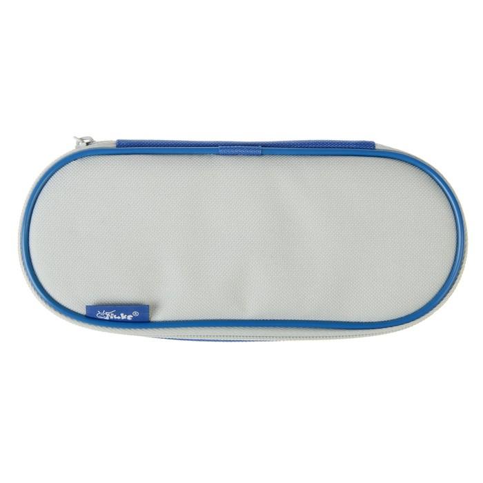 Пенал мягкий футляр ткань, откидная планка, 85х210х50 мм, синий-светло-серый