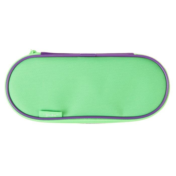 Пенал мягкий футляр ткань, откидная планка, 85х210х50 мм, фиолетовый-салатовый