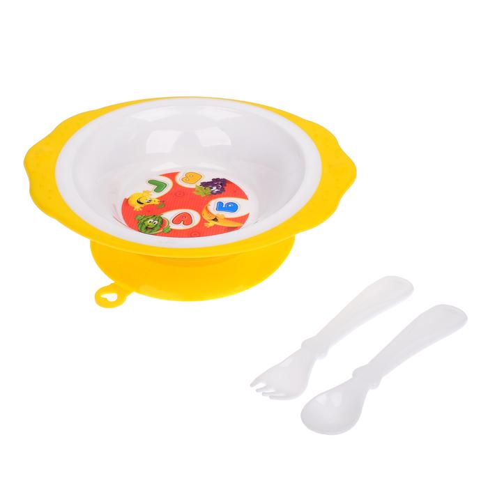 Набор детской посуды «Алфавит», 3 предмета: тарелка на присоске 250 мл, ложка, вилка, от 5 мес.