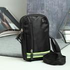 Сумка пояс, 2 отдела на молниях, наружный карман, регулируемый ремень, цвет чёрный