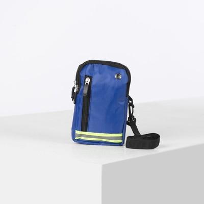 Сумка поясная, 2 отдела на молниях, наружный карман, регулируемый ремень, цвет синий