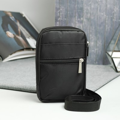 Сумка на пояс, 2 отдела на молниях, 2 наружных кармана, регулируемый ремень, цвет чёрный