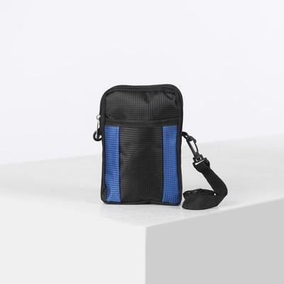 Сумка поясная, 2 отдела на молниях, наружный карман, регулируемый ремень, цвет синий/чёрный