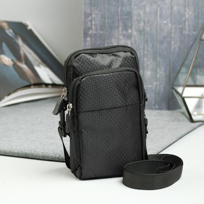 Сумка на пояс, 2 отдела на молниях, наружный карман, регулируемый ремень, цвет чёрный