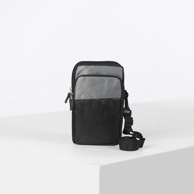 Сумка поясная, 2 отдела на молниях, наружный карман, регулируемый ремень, цвет серый/чёрный