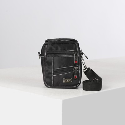 Pouch belt, 2 Department zip, 3 outside pockets, adjustable strap, color black