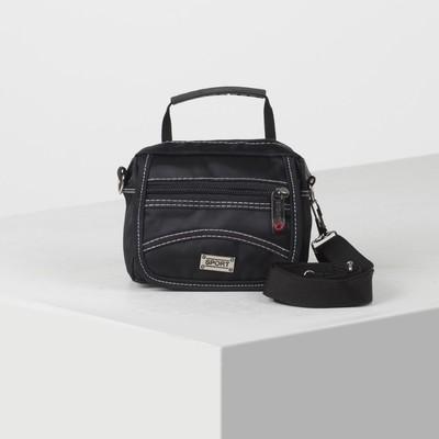 Pouch belt, 2 Department zip, 2 exterior pockets, adjustable strap, color black