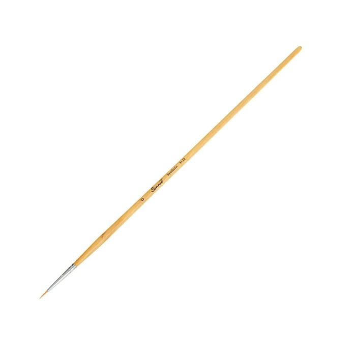 Кисть «Сонет» № 0, синтетика, круглая, длинная ручка, покрытая лаком