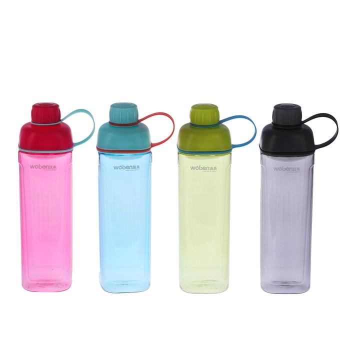 Бутылка 660 мл, дно квадратное, на ремешке, прозрачная, микс, 6.5х9х24 см