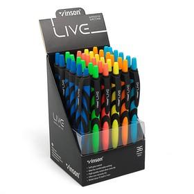 Ballpoint pen, automatic, 0.7 mm, Vinson, rubberized case, oil blue stem, MIX