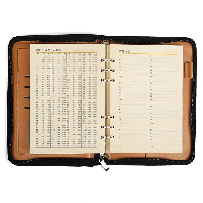 Органайзер на кольцах, формат А5, 96 листов в линейку, с 3-х, «Босс», искуственная кожа, коричневая