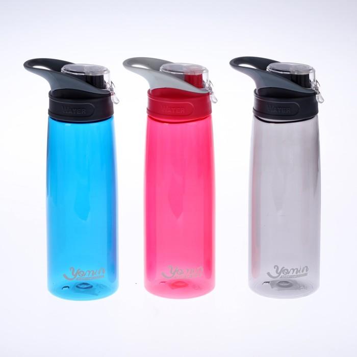 """Бутылка для воды """"Water"""" с поильником и откидной крышкой, 750 мл, прямая, 7.5х9х24.5 см"""