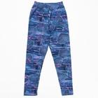 Брюки (лосины) для девочки, рост 128 см, цвет джинса, принт розовый