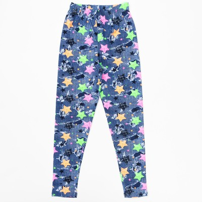 Брюки (лосины) для девочки, рост 128 см, цвет джинс, принт звезда
