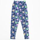 Брюки (лосины) для девочки, рост 134  см, цвет джинс, принт звезда