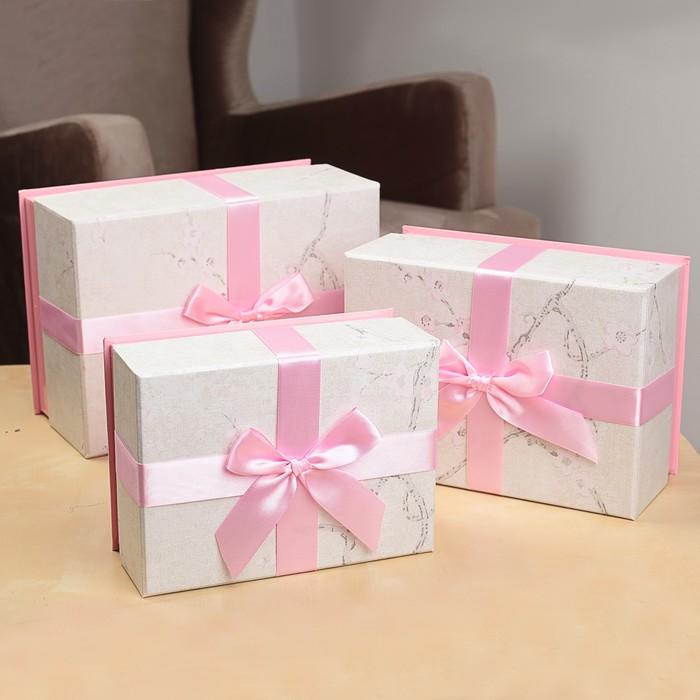 Набор коробок 3в1, розовый, 25 х 18 х 12 - 19 х 14 х 8 см